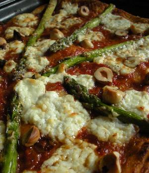 Roast Asparagus, Knockalara Sheep's Cheese and Roasted Hazelnut Pizza