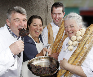 Black pudding fans Martin Shanahan, Isabel Sheridan, Tim McCarthy and Avril Allshire