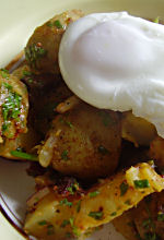 Warm Potato and Chorizo Salad with Poached Eggs