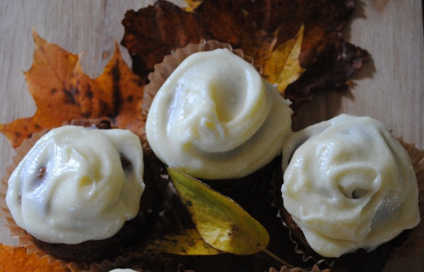 Spiced Pumpkin Muffins with Cream Cheese Frosting