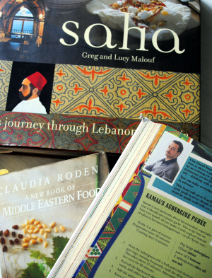 Greg and Lucy Malouf (Saha), Claudia Roden (A New Book of Middle Eastern Food) and Henry Dimbleby & John Vincent (Leon: Naturally Fast Food)