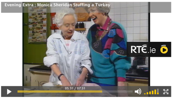 RTE- Monica Sheridan stuffing a turkey