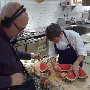 Chris Watson and Kevin Thornton recording in Thornton's kitchen
