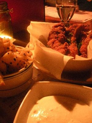 Crack Chicken: chilli chicken crunch, burnt lemon and whipped feta sauce, roast parsnip & nigella seed salad