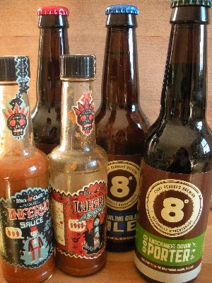 Eight Degrees Beer and Mic's Chilli Inferno sauces