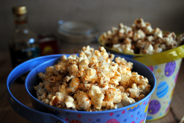 Spiced Sweet and Savoury Popcorn: Buttered Maple and Cinnamon Popcorn; Smoked Paprika and Parmesan Popcorn